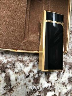 Vintage Mark Cross Italie Plaqué Or Noir Émail Lighter