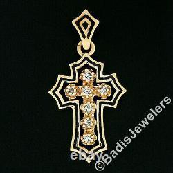 Vintage Or 14k 0.25ctw Rond Diamant & Noir Enamel Petite Croix Pendentif De Charme