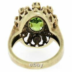 Vintage Or Jaune 14k 2.43ctw Oval Peridot Diamond & Black Enamel Halo Ring