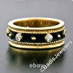 Vintage Or Jaune 18k Émail Noir. 24ctw Diamond 7.5mm Anneau De Bande D'éternité 5,5