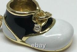Vintage Or Jaune 18k Félix B Vollman Noir Blanc Émail Diam Baby Shoe Charm