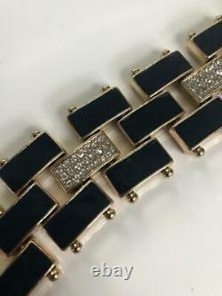 Vintage Schiaparelli Black Enamel Swarovski Crystals Bracelet Déco Plaqué Or