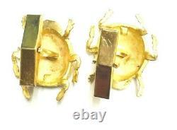 Vintage Solid 14k Yellow Gold Enamel Bug Cuff-liens