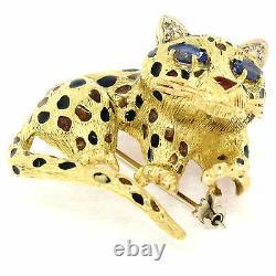 Vintage Texturé 18k Yellow Gold Sapphire Leopard Broche Pin Orange Noir Émail