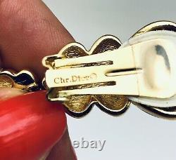 Vtg Christian Dior Boucles D'oreilles En Émail Noir En Perles Signées Menthe