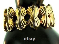 Vtg Couture Fendi Large Logo Black Émail Or Plaqué Panneau Lien Bracelet