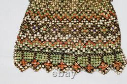 Whiting Et Davis Flat Mesh Enamel Gold Tone Cadre Bag C. 1800's