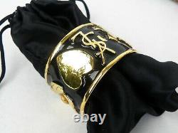 Yves Saint Laurent Ysl Plaqué Or Noir Enamel Logo Coeur Bangle